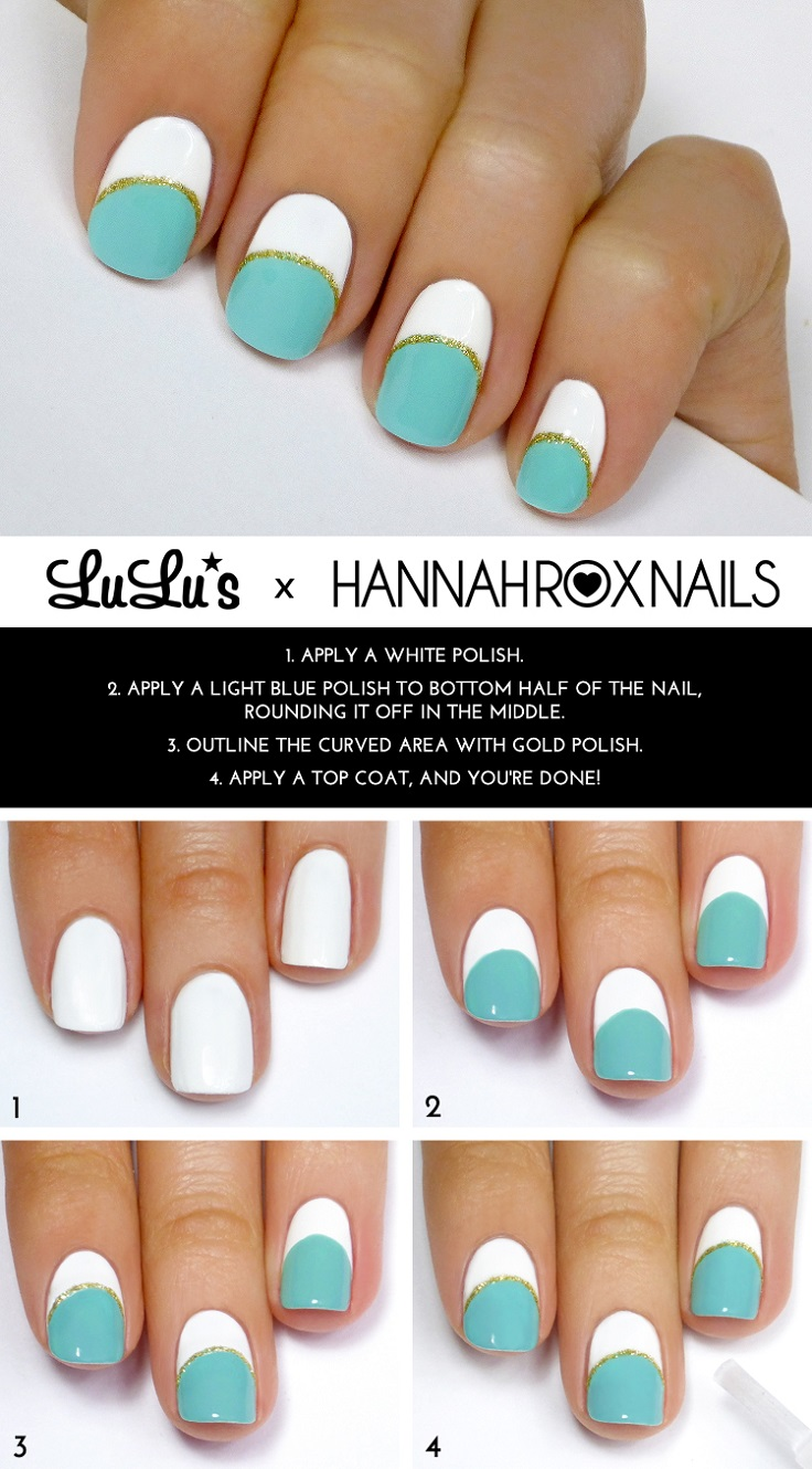 Mint, White and Gold Striped Mani