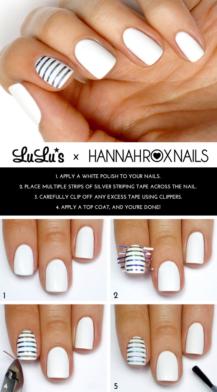 White and Silver Striped Accent Nail Mani