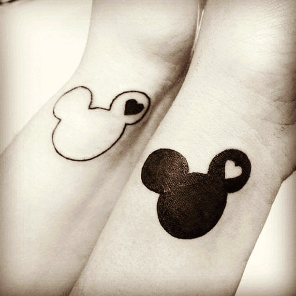 Black-White-Mickey-Minnie-Whrist-Tattoo-Design