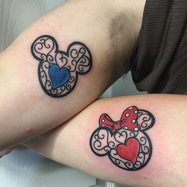 Colorful-Mickey-Minnie-Mouse-Ink Tattoos