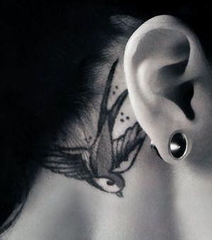 Bird Tattoo Behind Ears