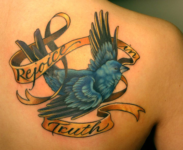 bird tattoo with quote