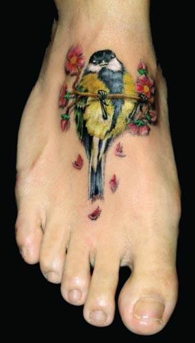 Cute Little Sparrow Tattoo On Foot