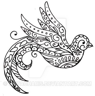 Paisley Bird Tattoo Sketch