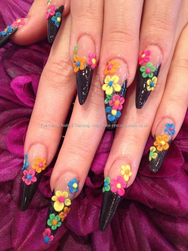 3d acrylic stiletto tips flower nails