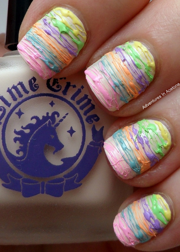 acetone lime crime spun sugar nail art