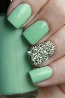 cute mint green nail art