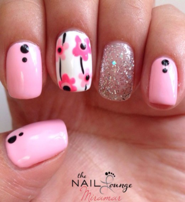 latest pink glitter nails for girls