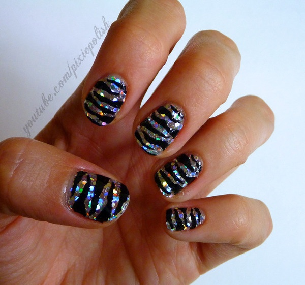 zebra glam nail designs