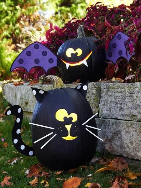funny-spider-cat-pumpkin-decoration-sets