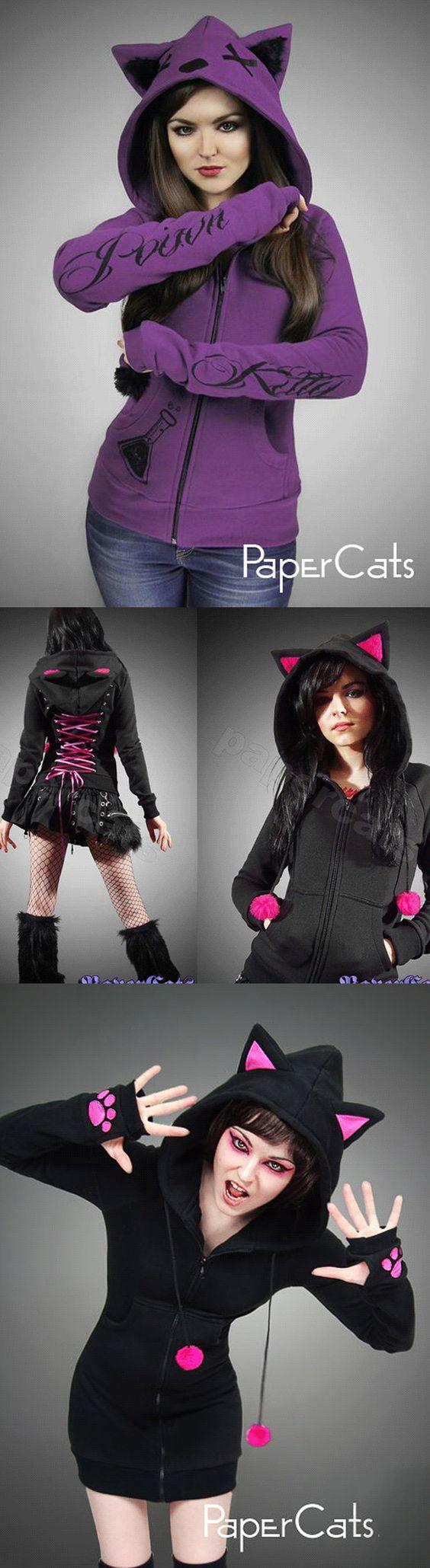 gothic-emo-cat-hoodies