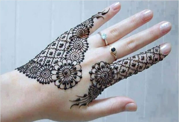 half moon henna design