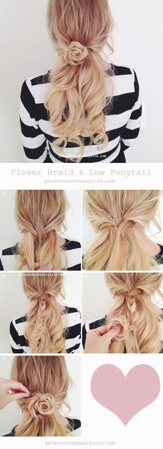 Low Ponytail flower braid