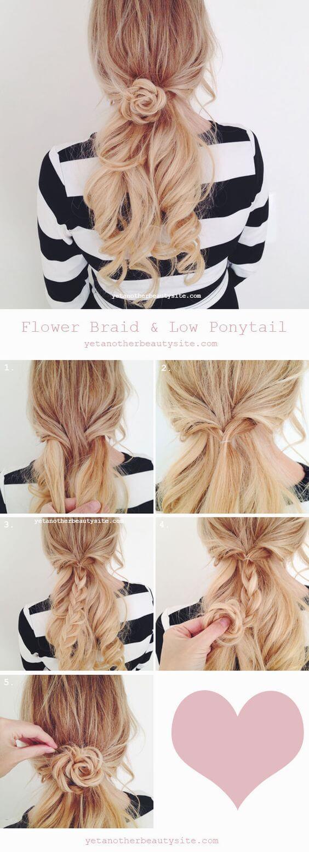 Low Ponytail flower braid