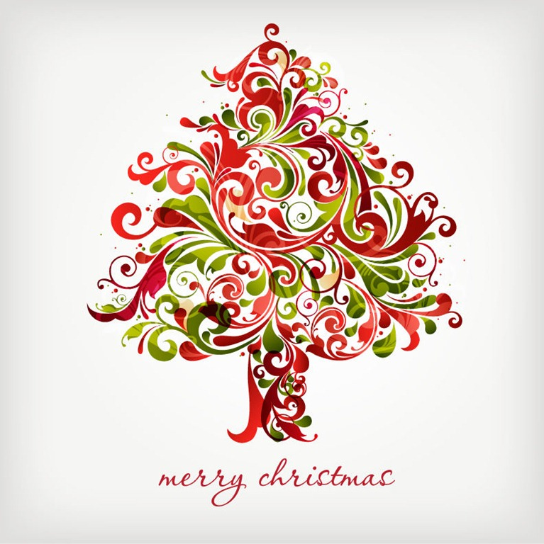 Merry Christmas Floral Swirls Tree