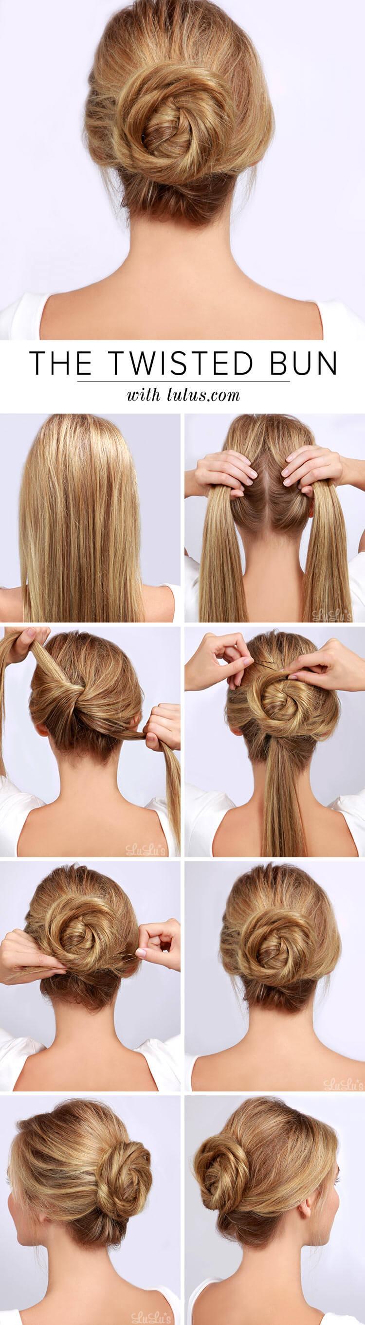 easy twist bun hairstyling