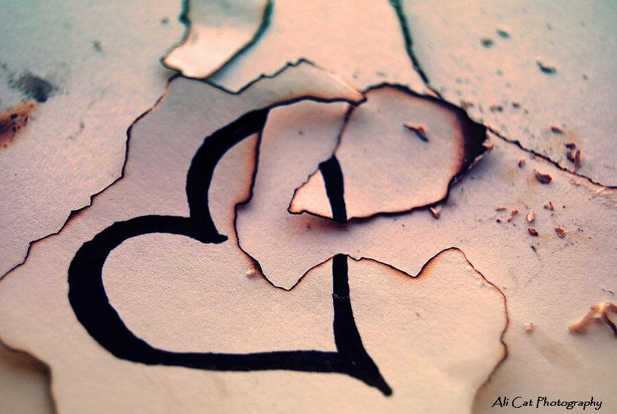 broken heart burned like paper with fire