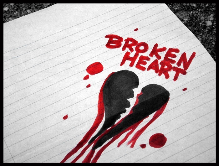 broken heart in red and black