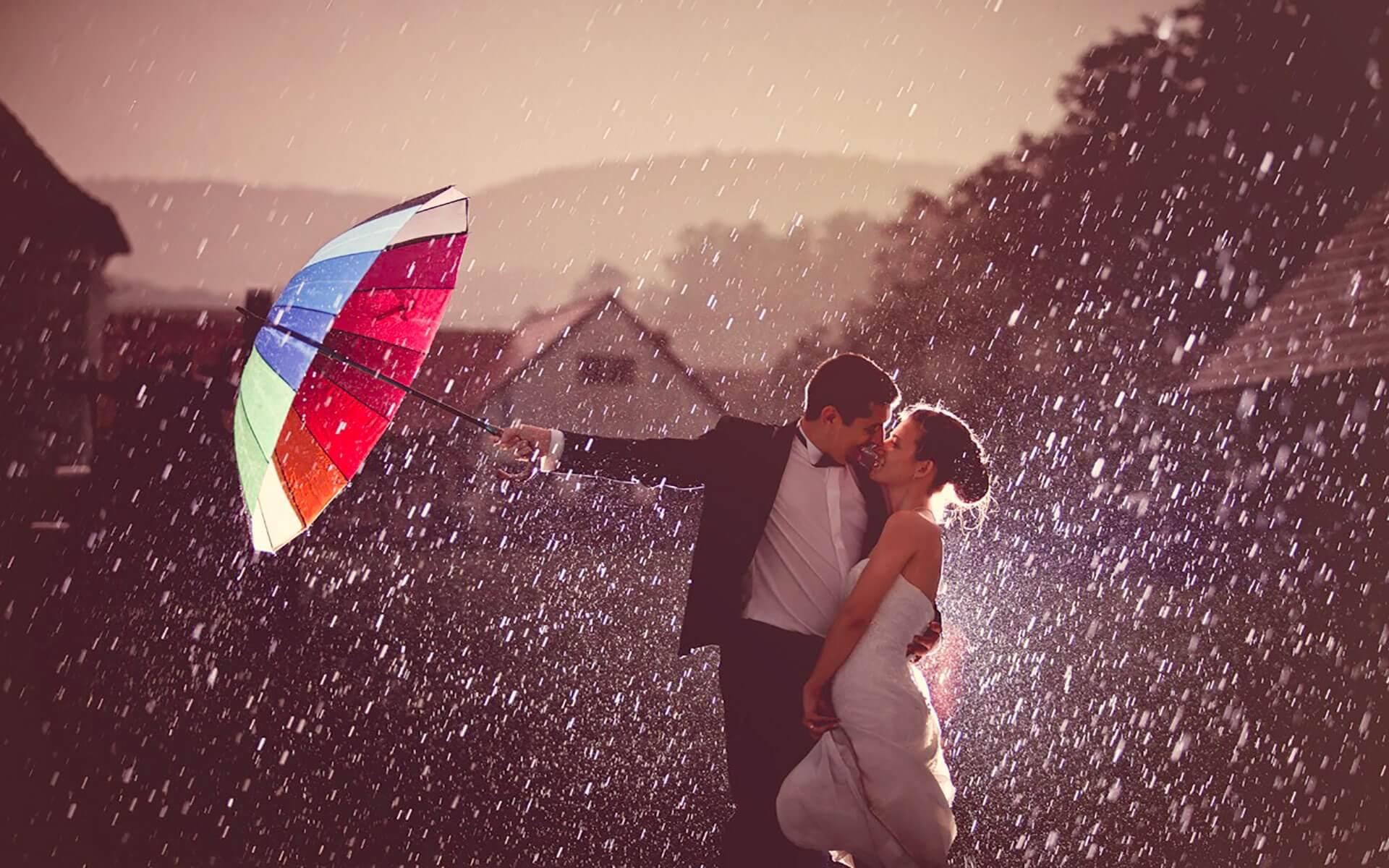 love and romance in rain