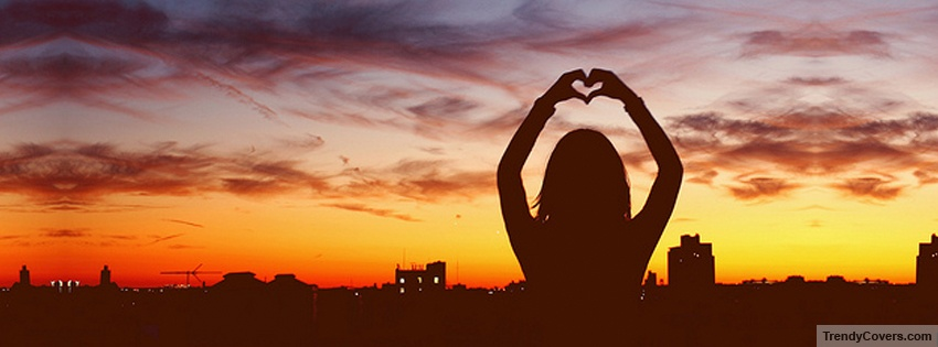 love at sunset facebook cover image