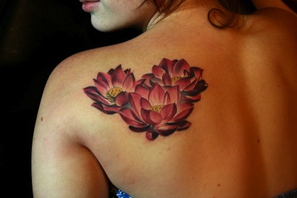 3 red lotus flower tattoo design on back shoulder