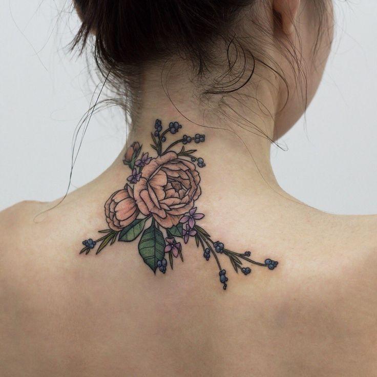 Big rose back Neck tattoo