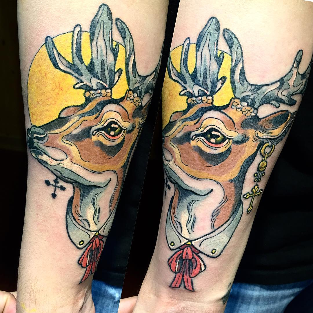 Colorful Neo Traditional Deer Tattoo
