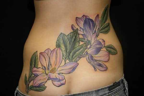 Cool Magnolia Flower Tattoo Design on lower back