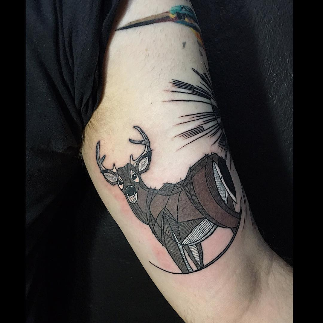Marvelous Brown Deer Tattoo Design