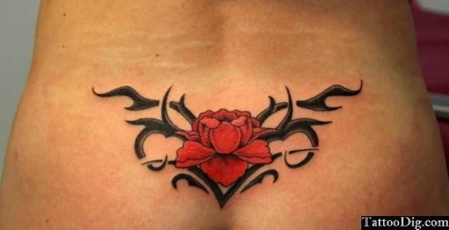 Red Rose Flower Vine Thorns Lower Back Tattoo