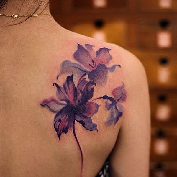 Watercolor Beautiful Purple flower tattoo
