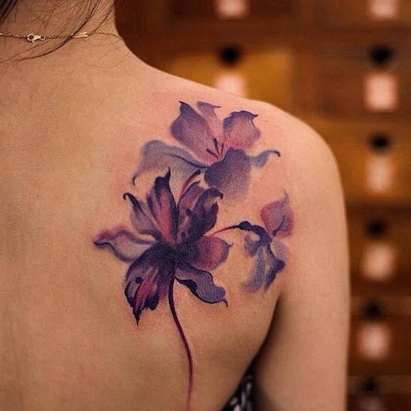 Watercolor Beautiful Purple flower tattoo