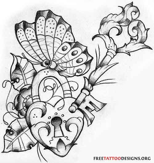 beautiful heart key butterfly tattoo sketch
