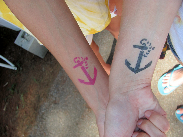 colorful anchor hand tattoos for couple