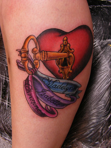 cute colored heart key tattoo