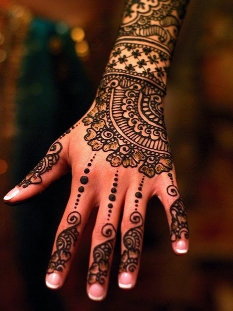 full back hand mehndi design for girls