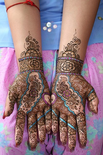 glittered Pakistani-Indian Mehndi on hands