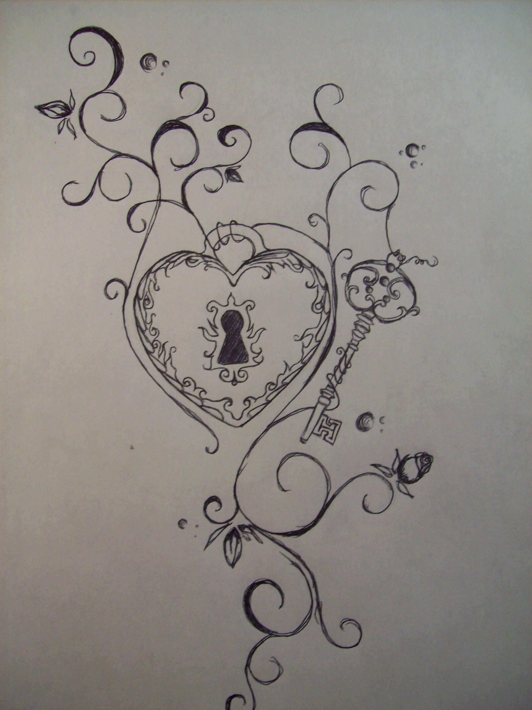 heart key rose sketch