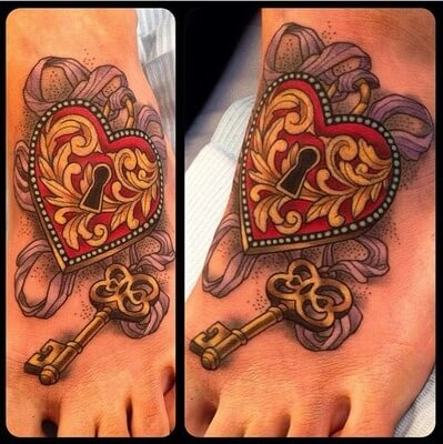 key to my heart tattoo on foot