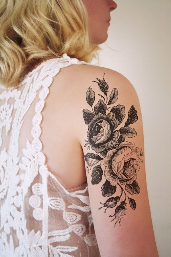 attractive glorified leafy flower black and white tattoo pattern