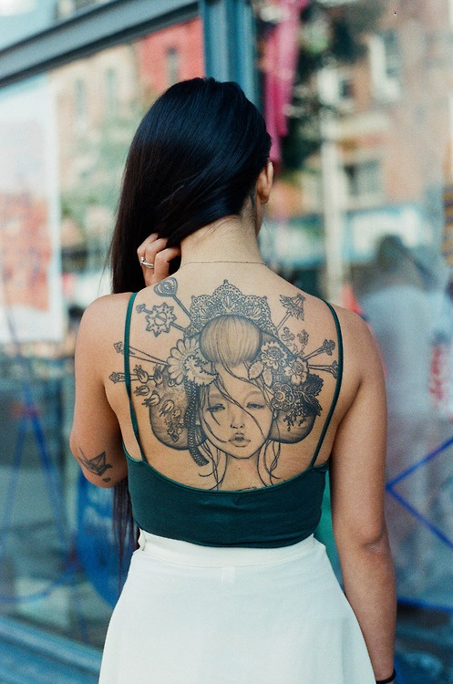 Audrey Geisha back tattoo
