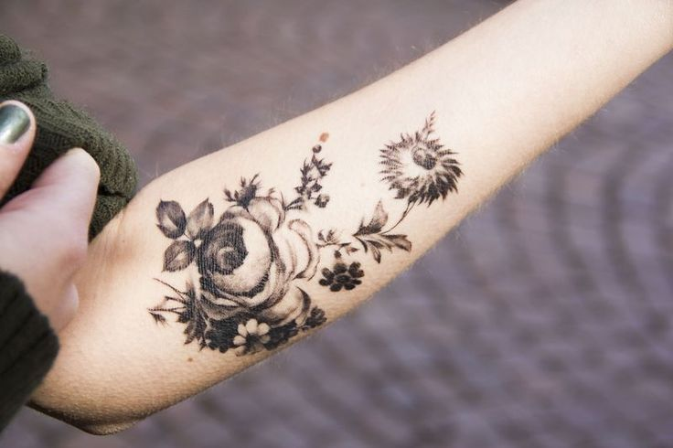 beautiful black and white flower Tattoos on forearm