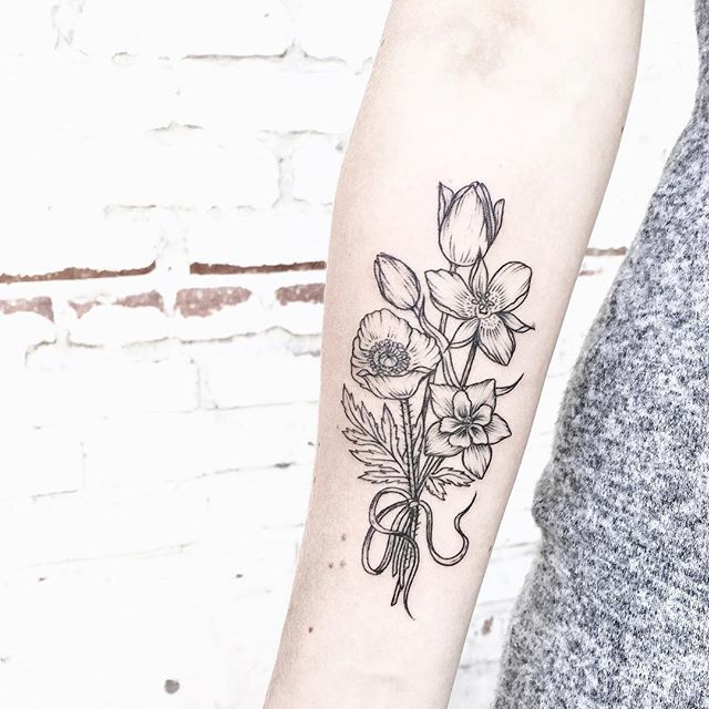 columbine flower bouquet black and white tattoo pattern