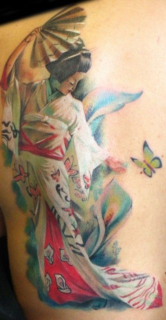 Dancing Geisha women tattoo on back