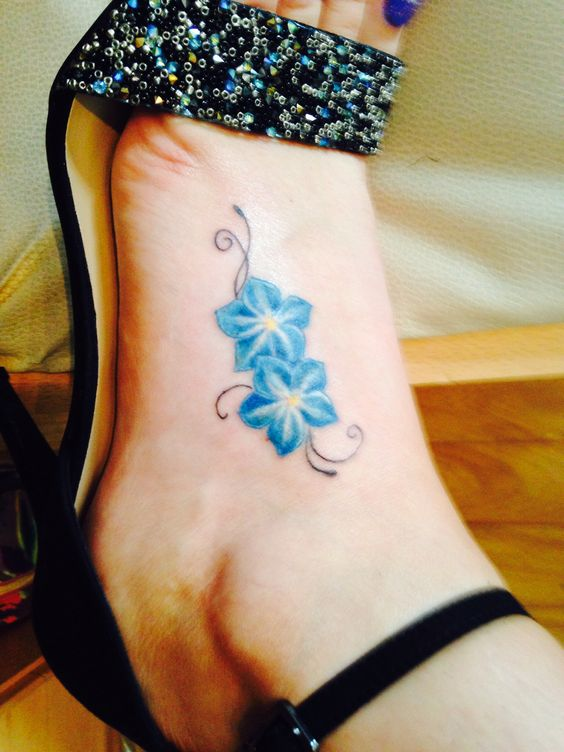 Forget me not tattoo pattern foot