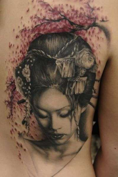Head dressed Geisha girl tattoo