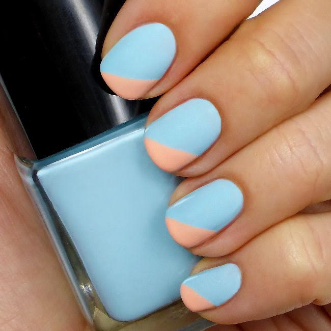 Light Blue and Peach Angled Tip Mani