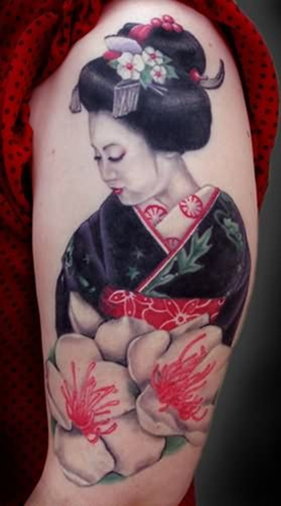 Traditional Geisha woman tattoo