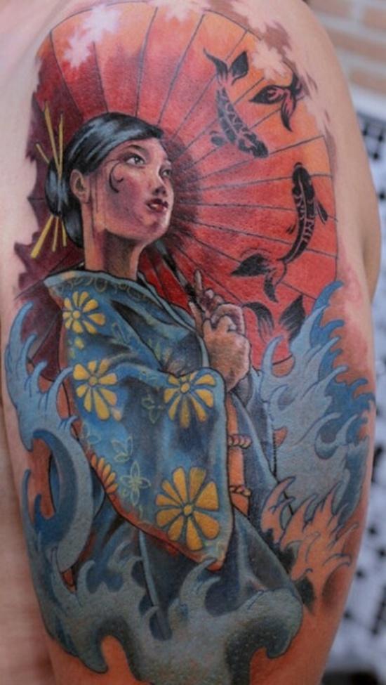 Tsunami Geisha tattoo