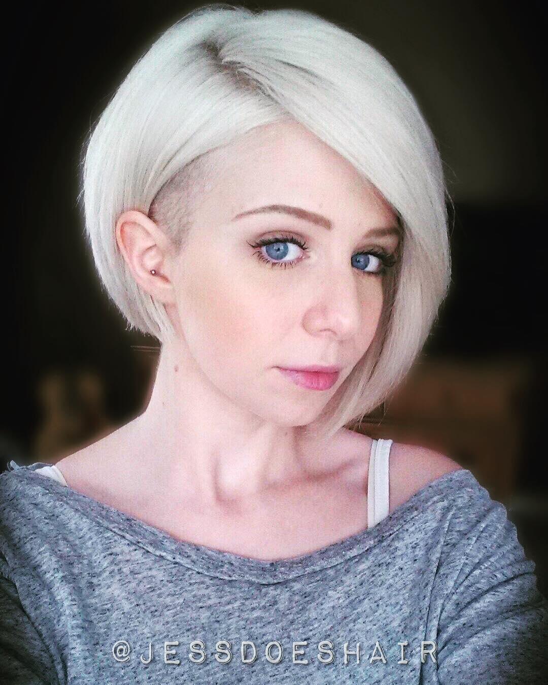 Undercut Fade Blonde Bob Haircut
